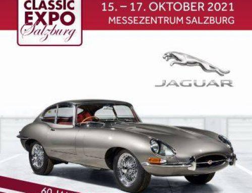 Einladung zur 17. ClassicExpo in Salzburg mit Sonderschau 60 Jahre E-Type